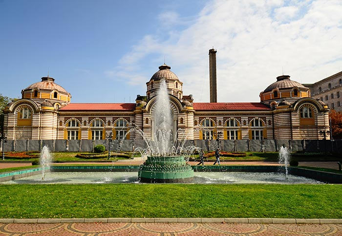 Sofia, Bulgaria, park with fountain in front of the Sofia Public Mineral Bath
