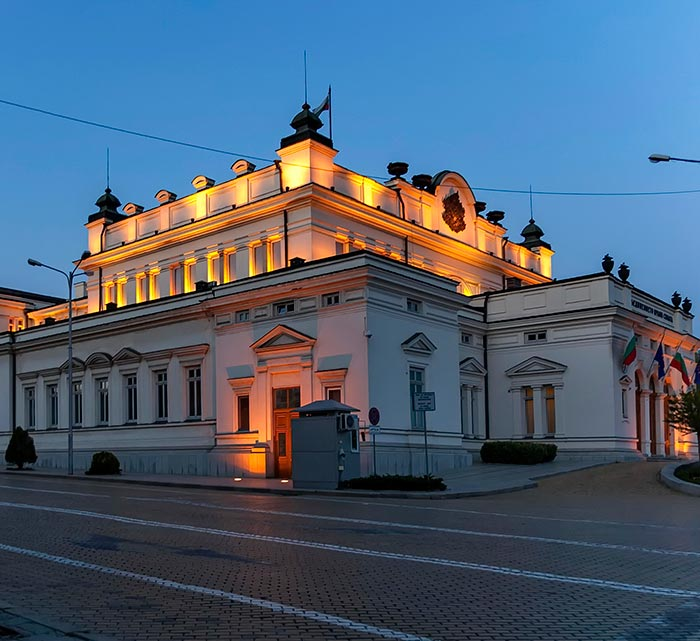 The building of the Bulgarian Parliament - the National Assembly in Sofia at dusk